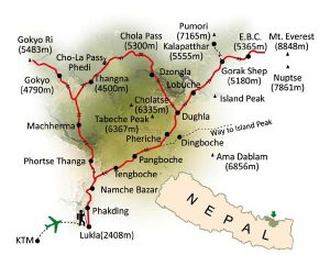 Map of Everest Base Camp trek via Gokyo lakes and Cho La Pass.