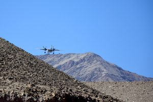 Plane coming into land in Leh.