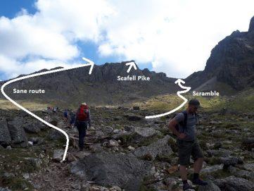 scrambling route scafell pike wasdale cumbria